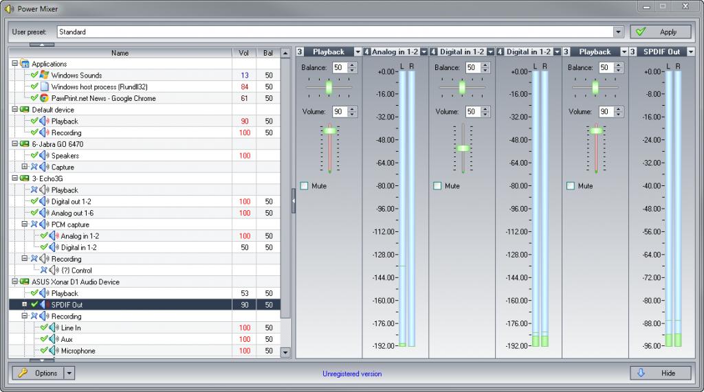 Windows audio mixer